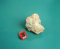 CORUNDUM (RUBY) AND BAUXITE<br /> Bauxite Al(OH)3<br /> Amorphous to microcrystalline crystal; Corundum Al2O3-Hexagonal Scalenohedral &amp; Ruby colored by CrO2