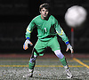 David Futterman, Calhoun goalie, reads a shot that sails wide during the Nassau County Class AA varsity boys soccer semifinals against Hicksville at Cold Spring Harbor High School on Monday, Oct. 31, 2016. Calhoun won by a score of 2-1.