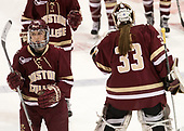 Kali Flanagan (BC - 10), Katie Burt (BC - 33) - The Boston College Eagles defeated the Boston University Terriers 3-2 in the first round of the Beanpot on Monday, January 31, 2017, at Matthews Arena in Boston, Massachusetts.