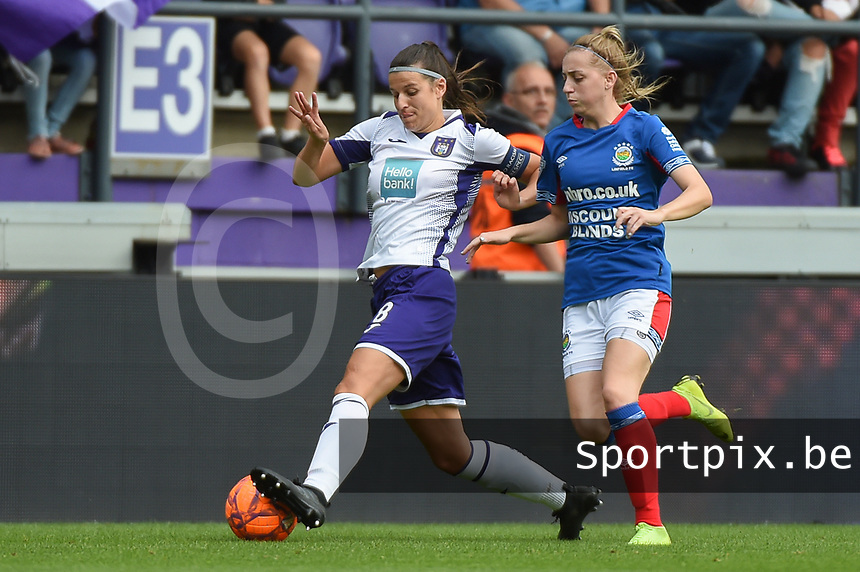 20190813 - ANDERLECHT, BELGIUM : Anderlecht's Laura Deneve (L) and Linfield's Rebecca Bassett (R) pictured during the female soccer game between the Belgian RSCA Ladies – Royal Sporting Club Anderlecht Dames  and the Northern Irish Linfield ladies FC , the third and final game for both teams in the Uefa Womens Champions League Qualifying round in group 8 , Tuesday 13 th August 2019 at the Lotto Park Stadium in Anderlecht  , Belgium  .  PHOTO SPORTPIX.BE | DIRK VUYLSTEKE