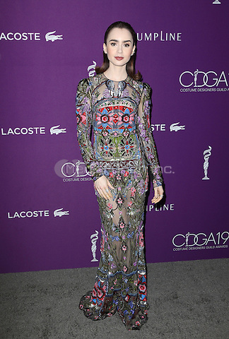 Beverly Hills, CA - February 21: Lily Collins, At 19th CDGA (Costume Designers Guild Awards), At The Beverly Hilton Hotel In California on February 21, 2017. Credit: Faye Sadou/MediaPunch
