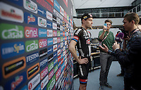 Dutch home favorite Tom Dumoulin (NLD/Giant-Alpecin) interviewed ahead of the Grande Partenza in Apeldoorn (NLD): team presentation of the 99th Giro d'Italia 2016 on the evening before the 1st stage