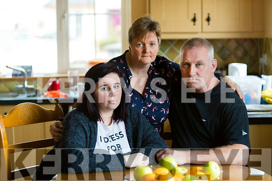 Niamh McNamara with her parents Patricia and Mark at their home in Lixnaw.