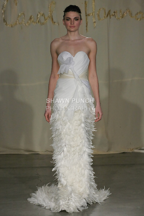 Model walks runway in a Hemlock wedding dress by Carol Hannah Whitfield, for the Carol Hannah Spring Summer 2012 Bridal collection runway show.