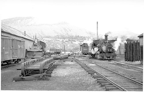 D&amp;RGW #473, #496, #464 between Durango car shop and roundhouse.<br /> D&amp;RGW  Durango, CO  Taken by Horan, John F. - 7/1954