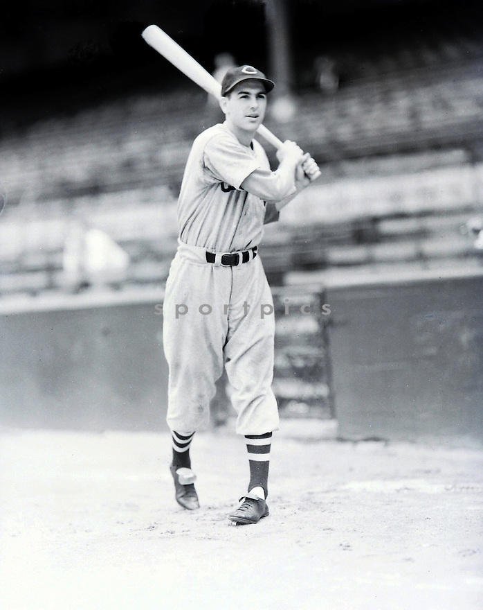 Cleveland Indians Lou Boudreau (5) batting portrait from the 1940's. Lou Boudreau played for 15 years with 2 different teams, was a 7-time All-Star, the 1948 American League MVP and was elected to the Baseball Hall of Fame in 1970.