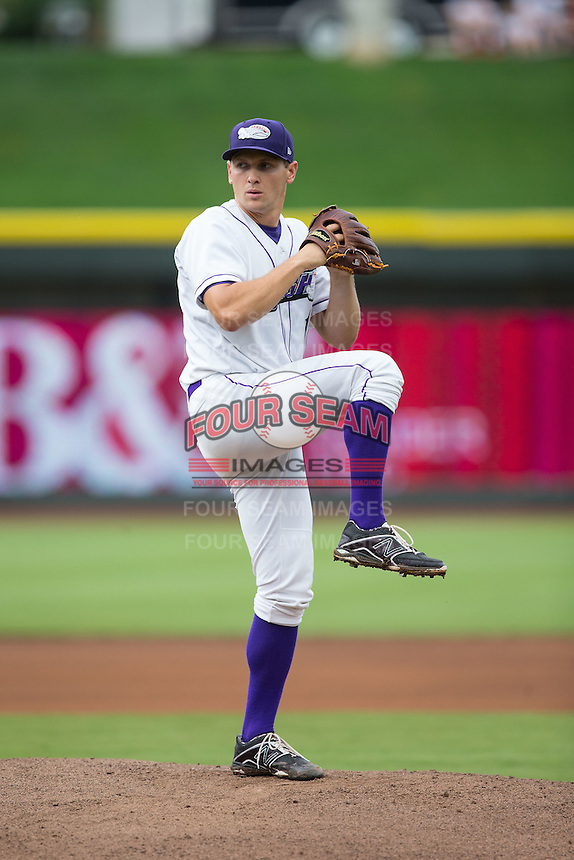 Winston-Salem Dash starting pitcher Tanner Banks (18) in action against the Myrtle Beach Pelicans at BB&T Ballpark on July 7, 2016 in Winston-Salem, North Carolina.  The Dash defeated the Pelicans 13-9.  (Brian Westerholt/Four Seam Images)