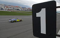 Feb 25, 2007; Fontana, CA, USA; Nascar Nextel Cup Series driver Jimmie Johnson (48) during the Auto Club 500 at California Speedway. Mandatory Credit: Mark J. Rebilas