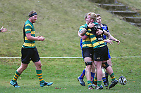 Shane Fikken celebrates his try during the Otago premier club rugby union match between Kaikorai and Green Island at Bishopscourt Park in Dunedin, New Zealand on Saturday, 4 July 2020. Photo: Joe Allison / lintottphoto.co.nz