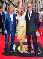 Rick Parfitt, Laura Aikman, Francis Rossi <br /> The &quot;Bula Quo!&quot; UK film premiere, Odeon West End cinema, Leicester Square, London, England.<br /> July 1st, 2013<br /> full length white lace top yellow silk satin skirt blue black suit tinted glasses <br /> CAP/BF<br /> &copy;Bob Fidgeon/Capital Pictures