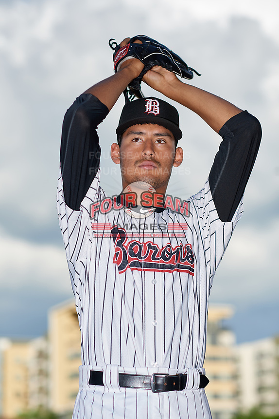 Birmingham Barons pitcher Bernardo Flores (30) poses for a photo before a Southern League game against the Chattanooga Lookouts on May 1, 2019 at Regions Field in Birmingham, Alabama.  Chattanooga defeated Birmingham 5-0.  (Mike Janes/Four Seam Images)