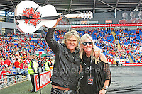 Mike Peters of the rock band Alarm with his wife Jules during the homecoming celebrations at the Cardiff City stadium on Friday 8th July 2016 for the Euro 2016 Wales International football squad.<br /> <br /> <br /> Jeff Thomas Photography -  www.jaypics.photoshelter.com - <br /> e-mail swansea1001@hotmail.co.uk -<br /> Mob: 07837 386244 -