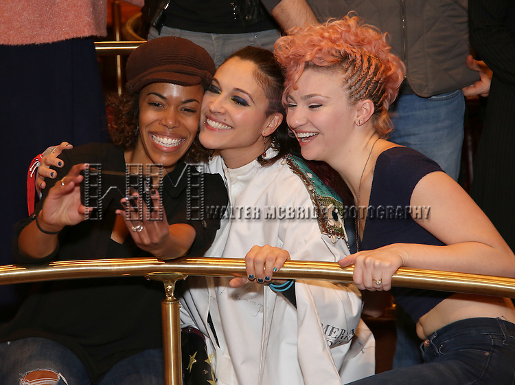 Erica Dorfer,  Katrina Yaukey and Paloma Garcia-Lee during the Broadway Opening Night Actors' Equity Gypsy Robe Ceremony honoring Katrina Yaukey  for  'Natasha, Pierre & The Great Comet Of 1812' at The Imperial Theatre on November 14, 2016 in New York City.