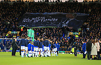 11th January 2020; Goodison Park, Liverpool, Merseyside, England; English Premier League Football, Everton versus Brighton and Hove Albion; fans in the Sir Phillip Carter stand display a giant banner of Everton manager Carlo Ancelotti prior to the kick off  - Strictly Editorial Use Only. No use with unauthorized audio, video, data, fixture lists, club/league logos or 'live' services. Online in-match use limited to 120 images, no video emulation. No use in betting, games or single club/league/player publications