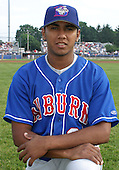 July 4, 2003:  Pitcher Marcos Sandoval of the Auburn Doubledays, Class-A affiliate of the Toronto Blue Jays, during a game at Dwyer Stadium in Batavia, NY.  Photo by:  Mike Janes/Four Seam Images