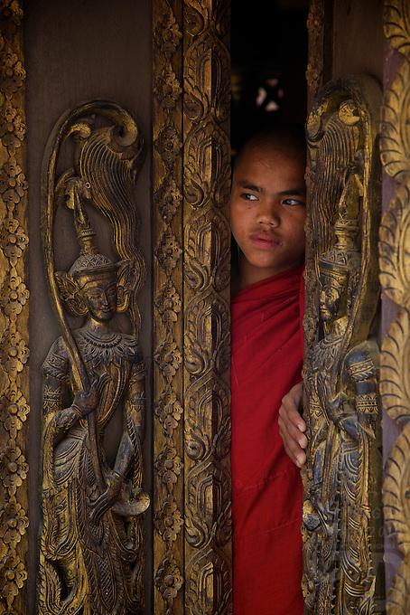 The hidden and approx. 300 year old Teak wood Monastery Yoke sone,sagging, Mandalay, Myanmar/Burma