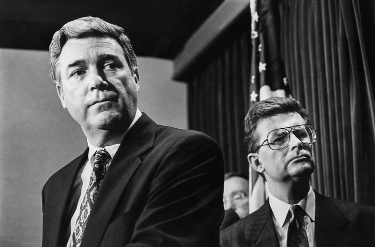 Rep. Matthew F. McHugh, D-N.Y. with Rep. Fred Grandy, R-Iowa during Ethics committee press conference in Mar., 1992. (Photo by Maureen Keating/CQ Roll Call)