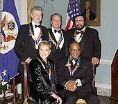 The 2001 Kennedy Center Honorees, left to right, Van Cliburn, Julie Andrews, Jack Nicholson, Quincy Jones,  and Luciano Pavarotti pose for a group photo following a dinner in their honor at the United States Department of State in Washington, D.C. on Saturday, December 1, 2001..Credit: Robert Trippett - Pool via CNP