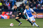 Theo Hernandez (L) of Real Madrid fights for the ball with Nabil El Zhar of CD Leganes during the Copa del Rey 2017-18 match between CD Leganes and Real Madrid at Estadio Municipal Butarque on 18 January 2018 in Leganes, Spain. Photo by Diego Gonzalez / Power Sport Images