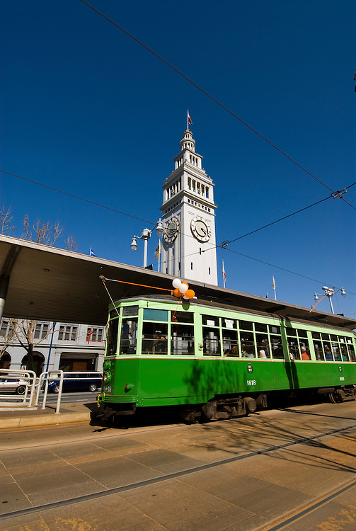California: San Francisco. Historic trolley car at Ferry Building, Embarcadero. Photo copyright Lee Foster. Photo #: san-francisco-trolley-car-19-casanf79146