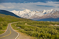 Richardson highway winds through the Alaska Range mountains, Interior, Alaska.