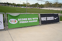 Kansas City, MO - Saturday May 07, 2016: NIke and Mango signs on the field before the game between FC Kansas City and Houston Dash during a regular season National Women's Soccer League (NWSL) match at Swope Soccer Village. Houston won 2-1.