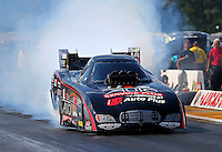 Aug. 16, 2013; Brainerd, MN, USA: NHRA funny car driver Blake Alexander during qualifying for the Lucas Oil Nationals at Brainerd International Raceway. Mandatory Credit: Mark J. Rebilas-