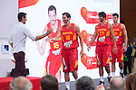 TV presenter Jorge Fernandez greets the players during the official presentation of Spain´s basketball team for the 2014 Spain Basketball Championship in Madrid, Spain. July 24, 2014. (ALTERPHOTOS/Victor Blanco)