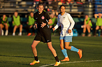 Portland, OR - Sunday March 11, 2018: Emily Menges, Sam Kerr during a National Women's Soccer League (NWSL) pre season match between the Portland Thorns FC and the Chicago Red Stars at Merlo Field.