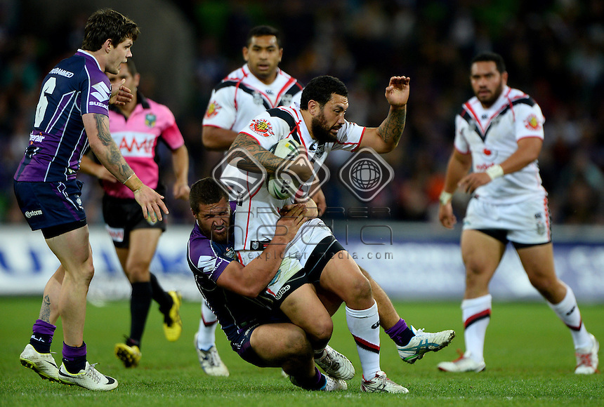 Feleti Mateo (NZ)<br /> NZ Warriors vs Melbourne Storm<br /> ANZAC day clash - AAMI Park<br /> Rugby League - 2014 NRL <br /> Melbourne AUS Friday 25 April  2014<br /> &copy; Sport the library / Jeff Crow