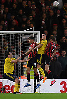 27th January 2020; Vitality Stadium, Bournemouth, Dorset, England; English FA Cup Football, Bournemouth Athletic versus Arsenal; Dominic Solanke and Dan Gosling of Bournemouth compete for the crossed ball with Granit Xhaka of Arsenal