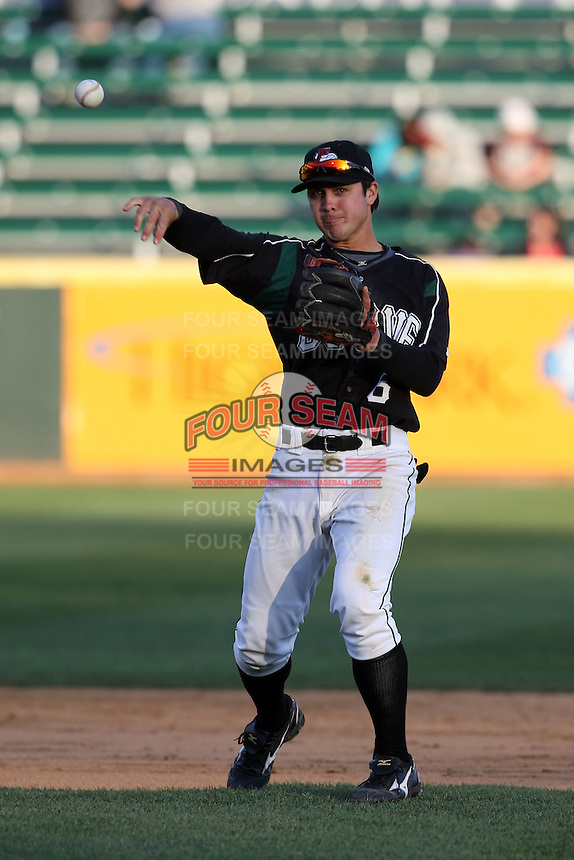April 10, 2010:  Shortstop Chase d'Arnaud of the Altoona Curve during a game at Blair County Ballpark in Altoona, PA.  Altoona is the Double-A Eastern League affiliate of the Pittsburgh Pirates.  Photo By Mike Janes/Four Seam Images