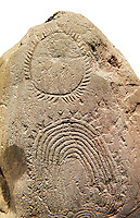"""Prehistoric  petroglyphs, rock carvings, of geometric designs carved by the the prehistoric Camuni people in the Copper Age around the 3rd milleneum BC, Stele """"Bagnolo 2"""" found in 1972 from Malegno near Bangnolo Ceresolo. Museo Nazionale della Preistoria della Valle Camonica ( National Museum of Prehistory in Valle Cominca ), Lombardy, Italy. White  Background"""