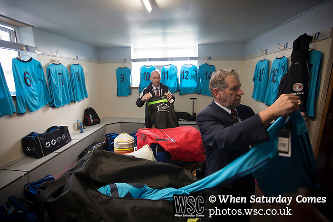 Harestanes AFC v Girvan FC, 15/08/2015. Scottish Cup preliminary round, Duncansfield Park. Club officials putting out the home team's kit in the dressing room before Harestanes AFC take on Girvan FC in a Scottish Cup preliminary round tie, staged at Duncansfield Park, home of Kilsyth Rangers. The home team were the first winners of the Scottish Amateur Cup to be admitted directly into the Scottish Cup in the modern era, whilst the visitors participated as a result of being members of both the Scottish Football Association and the Scottish Junior Football Association. Girvan won the match by 3-0, watched by a crowd of 300, which was moved from Harestanes ground as it did not comply with Scottish Cup standards. Photo by Colin McPherson.