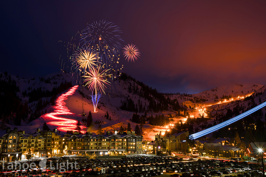 Squaw Valley winter fireworks and torchlight parade on new year's eve 2015