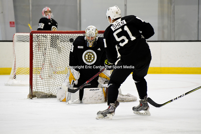 June 28, 2018: Boston Bruins forward Pavel Shen (51) shoots the puck at goalie Dan Vladar (80) during the Boston Bruins development camp held at Warrior Ice Arena in Brighton Mass. Eric Canha/CSM