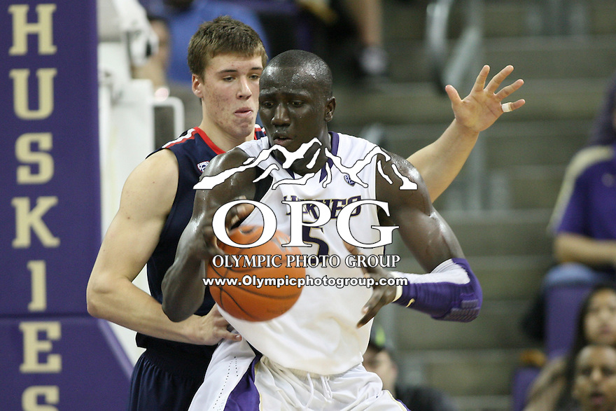 Jan 31, 2013:  Washington's Aziz N'Diaye against Arizona.  Arizona defeated Washington 57-53 at Alaska Airlines Arena Seattle, Washington...