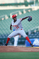 AZL Reds relief pitcher Maiker Manuel (46) during an Arizona League game against the AZL Cubs 2 on July 23, 2019 at Sloan Park in Mesa, Arizona. AZL Cubs 2 defeated the AZL Reds 5-3. (Zachary Lucy/Four Seam Images)