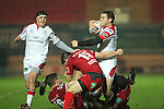 Ulster centre Darren Cave in need of support as the Scarlets defence closes in..Celtic League.Scarlets v Ulster.Parc y Scarlets.02.12.12..©Steve Pope