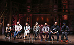 "Sasha Hollinger, Gregory Treco and Lauren Boyd, Eliza Ohma, Antuan Magic Raimone, James Monroe Iglehart and J. Quinton Johnson from the 'Hamilton' cast during the Q&A before The Rockefeller Foundation and The Gilder Lehrman Institute of American History sponsored High School student #EduHam matinee performance of ""Hamilton"" at the Richard Rodgers Theatre on June 7, 2017 in New York City."