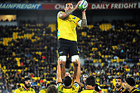 Vaea Fifita takes lineout ball during the Super Rugby match between the Hurricanes and Chiefs at Westpac Stadium in Wellington, New Zealand on Friday, 13 April 2018. Photo: Dave Lintott / lintottphoto.co.nz