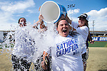 21 MAY 2016:  Head Coach Ashley Cozart of the University of North Alabama is doused with water after defeating Humboldt State University during the Division II Women's Softball Championship held at the Regency Athletic Complex on the Metro State University campus in Denver, CO.  North Alabama defeated Humboldt State 4-1 to win the national title.  Jamie Schwaberow/NCAA Photos