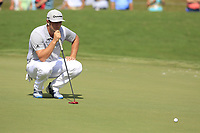 Jon Rahm (ESP) lines up his putt on the 18th green during Saturday's Round 3 of the 2017 PGA Championship held at Quail Hollow Golf Club, Charlotte, North Carolina, USA. 12th August 2017.<br /> Picture: Eoin Clarke | Golffile<br /> <br /> <br /> All photos usage must carry mandatory copyright credit (&copy; Golffile | Eoin Clarke)