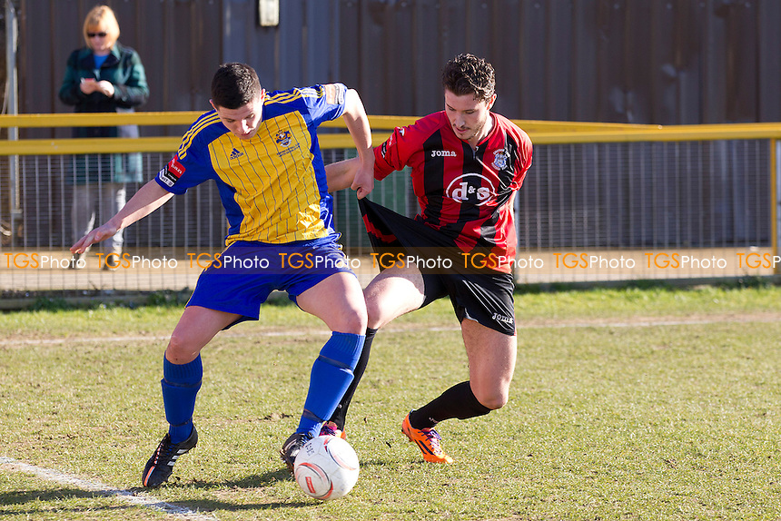 Joe Scott of Romford tries to get the better of Lewis Knight of Chatham Town - Romford vs Chatham Town - Ryman League Division One North Football at the Thurrock FC, Ship Lane - 07/03/15 - MANDATORY CREDIT: Ray Lawrence/TGSPHOTO - Self billing applies where appropriate - contact@tgsphoto.co.uk - NO UNPAID USE