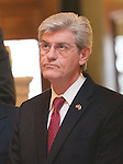 """1/22/13/  Jackson MS -Mississippi Governor Phil Bryant speaks at the Mississippi State Capital on the 40th Anniversary of Roe-v-Wade.  Governor Bryant is attempting to close the clinic by making strict laws for the clinic and having the doctors have admitting privileges at local hospitals. The clinic is unable to comply with State law and is fighting to stay open. Governor Phil Bryant joins the PLAN (Pro Life America Network) and speaks at the Mississippi State capital in support of his Pro Life agenda on the 40th Anniversary of Roe-v-Wade. Governor Bryant asked  for people to """"pray for the unborn babies"""" and Bryant is pushing hard to close the States only operating Abortion Clinic. Photo© Suzi Altman"""
