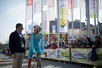 Lars Boom (NLD/Astana) having a pre-race chat with UCI commissar Philippe Mari&euml;n<br /> <br /> 103rd Scheldeprijs 2015