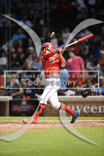 Elijah Cabell (99) of TNXL Academy in Winter Park, Florida during the Under Armour All-American Game presented by Baseball Factory on July 29, 2017 at Wrigley Field in Chicago, Illinois.  (Mike Janes/Four Seam Images)