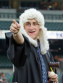 Alek Bernold of Utica, New York, wearing a traditional judge's wig and robe, cheers for New York Yankees right fielder Aaron Judge (99) prior to the game against the Baltimore Orioles at Oriole Park at Camden Yards in Baltimore, MD on Tuesday, May 30, 2017.<br /> Credit: Ron Sachs / CNP<br /> (RESTRICTION: NO New York or New Jersey Newspapers or newspapers within a 75 mile radius of New York City)