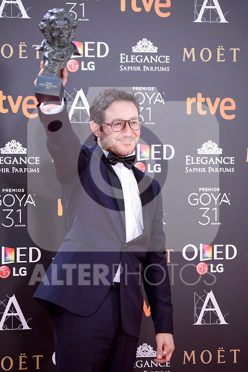 Carlos Santos pose to the media with the Goya award at Madrid Marriott Auditorium Hotel in Madrid, Spain. February 04, 2017. (ALTERPHOTOS/BorjaB.Hojas)