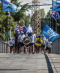 Members of the Australian Maccabi delegation to the 20th Maccabiah games take part in a memorial ceremony over the Yarkon river in Tel Aviv Tuesday July 4 2017. The athletes marked 20 years since four members of the the delegation died in a tragic  catastrophic failure of a pedestrian bridge over the Yarkon River during the opening ceremony of the 15th Maccabiah Games. Photo by Eyal Warshavsky
